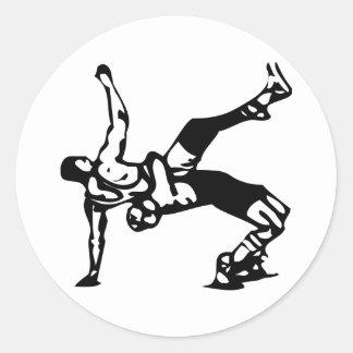Weißer Wrestling Runder Aufkleber