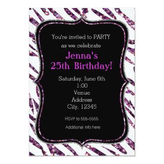 Weißer Zebra-Druck-bezaubernde Glitter-Party 12,7 X 17,8 Cm Einladungskarte