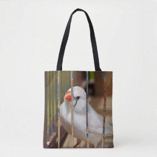 Weißer Zebra-Fink-Vogel im Käfig Tasche