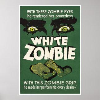 Weißer Zombie-Vintager Film-Plakatdruck Poster
