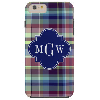 Weißes adrettes Madras Monogramm Tough iPhone 6 Plus Hülle