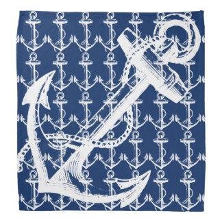 Weißes Anker-Marine-Blau Halstuch