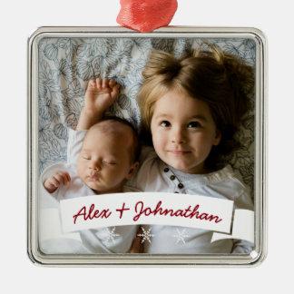 Weißes Band-Schneeflocke-Name-Familien-Foto Silbernes Ornament