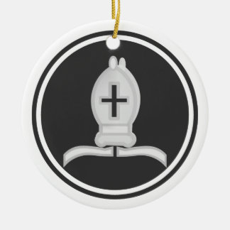 Weißes Bischofs-Schach Rundes Keramik Ornament