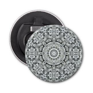 Weißes Blatt-Muster-magnetischer runde Flaschenöffner