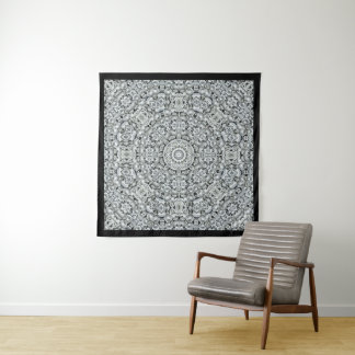 Weißes Blatt-Vintage Kaleidoskop-Wand-Tapisserie Wandteppich