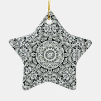 Weißes Blatt-Vintage Muster-Kreis-Verzierungen Keramik Ornament