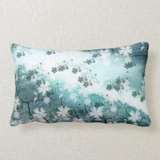 weißes blaues Grau BlumenWurfs-Kissen Kissen