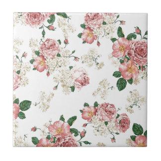 Weißes Blumen Keramikfliese
