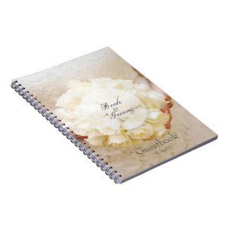 Weißes Brauthochzeits-Blumen-Blumenstraußgastbuch Spiral Notizblock
