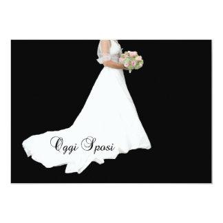 weißes Brautkleid der italienischen 12,7 X 17,8 Cm Einladungskarte