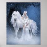 Weißes Damen-und Einhorn-Plakat