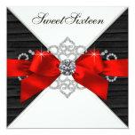 Weißes Diamant-Schwarz-roter Bonbon 16 Personalisierte Einladung