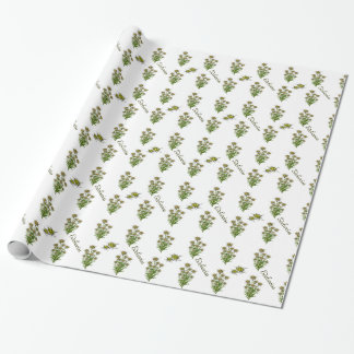 Weißes Edelweiss BlumenPackpapier Geschenkpapier