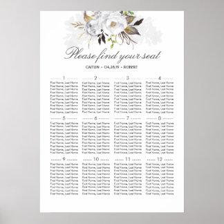 Weißes elegantes Hochzeits-Sitzplatz-mit Poster