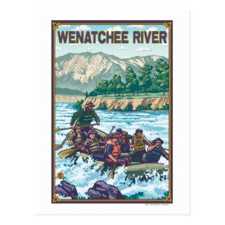 Weißes flößendes Wasser - Wenatchee Fluss, Postkarte