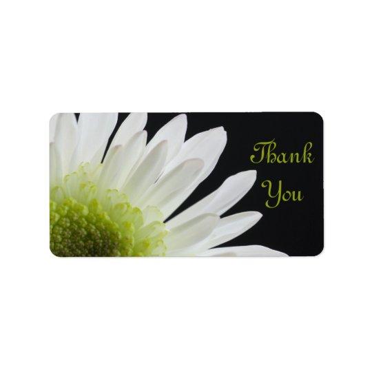 Weißes Gänseblümchen auf schwarzer Hochzeit danken Adressetikett