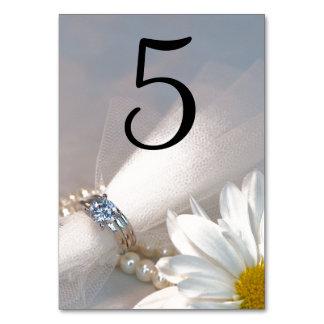 Weißes Gänseblümchen-Eleganz-Wedding Tischnummern