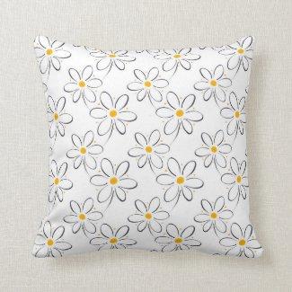 Weißes Gänseblümchen-Muster Kissen