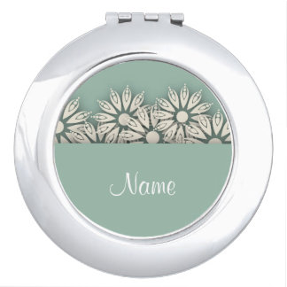 Weißes Gänseblümchen-personalisierter kompakter Taschenspiegel