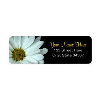 Weißes Gänseblümchen-Rücksendeadressen-Aufkleber