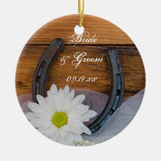 Weißes Gänseblümchen-und Hufeisen-Land-Hochzeit Keramik Ornament
