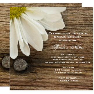 Weißes Gänseblümchen und Scheunen-hölzernes Quadratische 13,3 Cm Einladungskarte