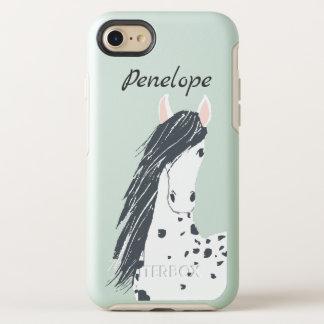 Weißes gepunktetes Pferd mit der langen schwarzen OtterBox Symmetry iPhone 8/7 Hülle