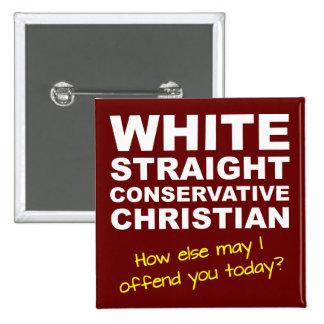 Weißes gerades konservatives christliches quadratischer button 5,1 cm