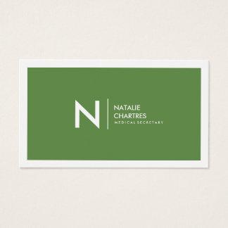 Weißes gerahmtes unbedeutendes Monogramm-Grün Visitenkarte