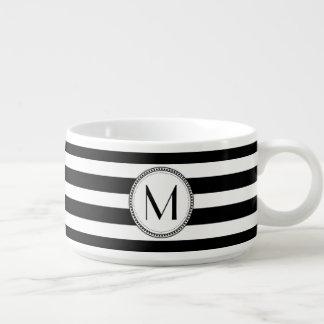 Weißes gestreiftes Muster-Monogramm des Schwarz-| Schüssel