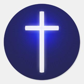 Weißes glühendes Quer| christliches Marine-Blau Runder Aufkleber