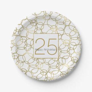 Weißes Goldbezaubernder stilvoller Kreis-Jahrestag Pappteller