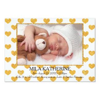 Weißes GoldGlitter-Herzen _3x5 Geburts-Mitteilung 8,9 X 12,7 Cm Einladungskarte
