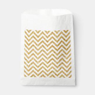 Weißes GoldGlitter-Zickzack Stripes Zickzack Geschenktütchen