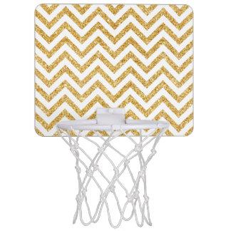 Weißes GoldGlitter-Zickzack Stripes Zickzack Mini Basketball Ring