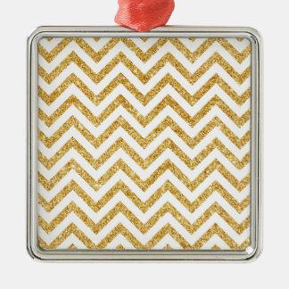 Weißes GoldGlitter-Zickzack Stripes Zickzack Silbernes Ornament