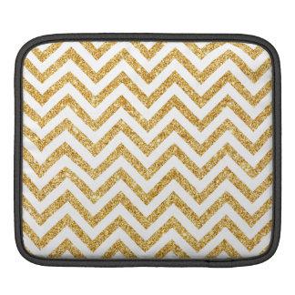 Weißes GoldGlitter-Zickzack Stripes Zickzack Sleeve Für iPads
