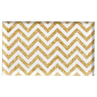 Weißes GoldGlitter-Zickzack Stripes Zickzack Tischnummernhalter