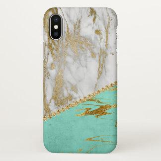 Weißes GoldGlitzer-und -schein-Marmor iPhone X Hülle