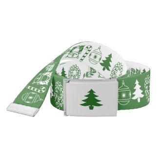Weißes/grünes WeihnachtsSchriftart-Kunst-Muster Gürtel