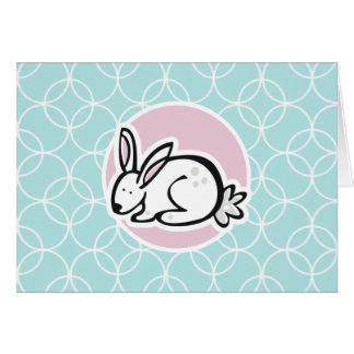 Weißes Häschen; Baby-Blau-Kreise Grußkarte