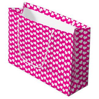 Weißes Herz-Muster auf rosa großer Geschenk-Tasche Große Geschenktüte
