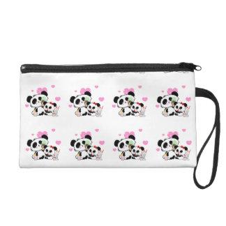 Weißes Herzmuster des Pandabärn-Rosas Wristlet Handtasche