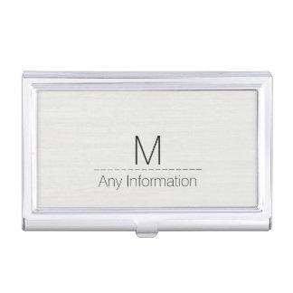 Weißes hölzernes Korn-Beschaffenheits-Monogramm Visitenkarten Dose