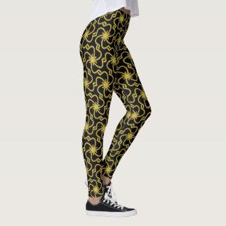 Weißes Imitat-Gold gesticktes Muster Leggings
