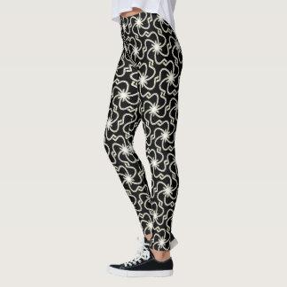 Weißes Imitat-metallisches gesticktes Muster Leggings