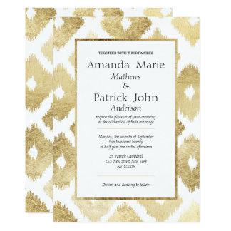 Weißes Imitatgoldmoderne Ikat elegante Hochzeit Karte