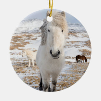 Weißes isländisches Pferd, Island Keramik Ornament