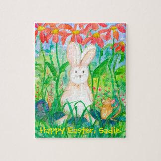 Weißes Kaninchen-glücklicher Ostern-individueller Puzzle
